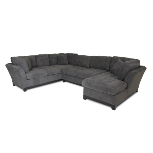 Corinthian Loxley Charcoal Right Side Facing Chaise Sectional Great American Home Store