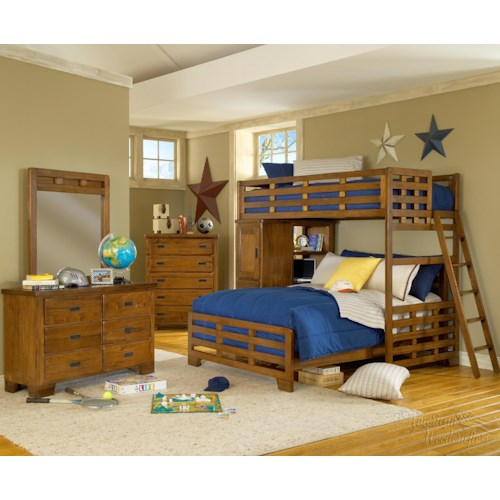 American Woodcrafters Heartland  Twin Loft Bed Over Full Bedroom Group