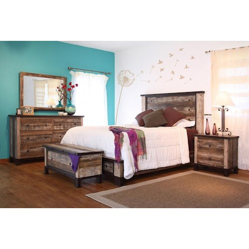 International Furniture Direct 900 Antique King Bedroom Group