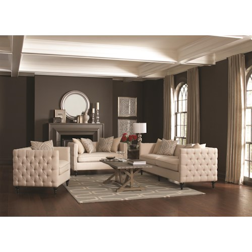 Coaster Claxton Stationary Living Room Group
