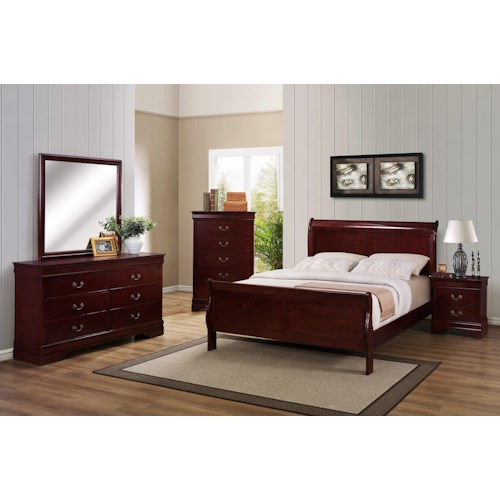 Crown Mark B3800 Louis Phillipe Full Bedroom Group