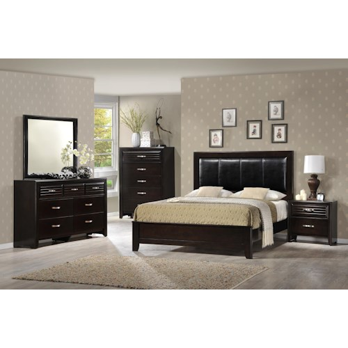 Crown Mark Jocelyn Queen Upholstered Bedroom Group