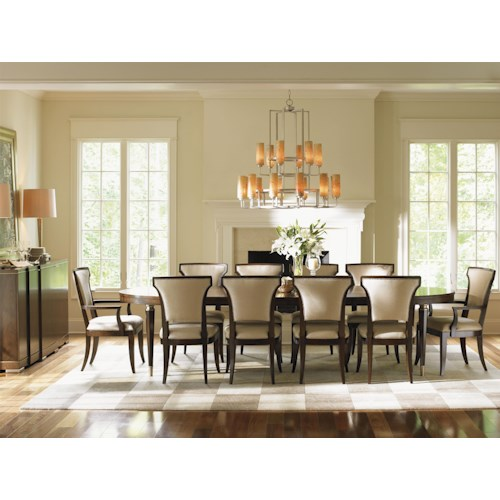 Lexington Tower Place 12 Piece Formal Dining Room Group with Married Fabric Upholstery