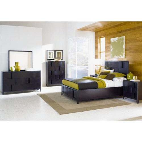 Magnussen Home Nova Queen 4pc BR (Queen storage bed, dresser, mirror, nightstand) (Chest sold separate)