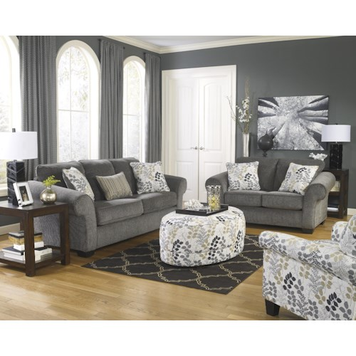 Signature Design by Ashley Makonnen - Charcoal Stationary Living Room Group
