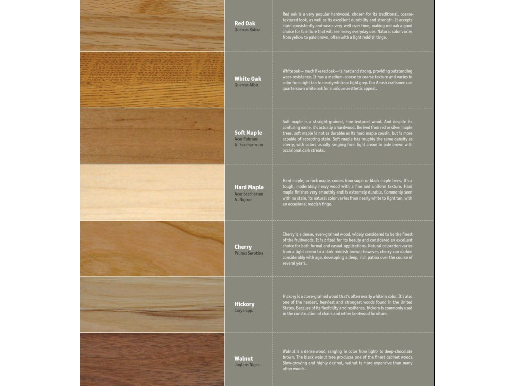 Available in 7 Wood Choices For Most Items: Red Oak, White Oak, Soft Maple, Hard Maple, Cherry, Hickory, or Walnut