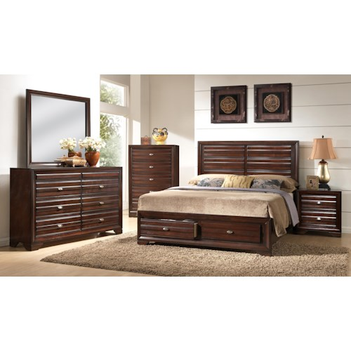 Crown mark stella king storage bedroom group wayside for Bedroom furniture groups