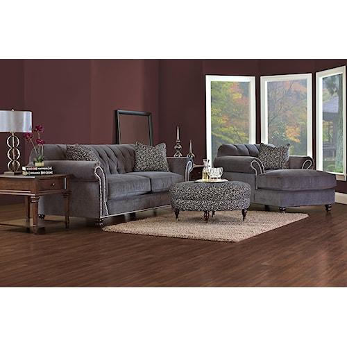 Klaussner flynn stationary living room group value city for Living room furniture groups