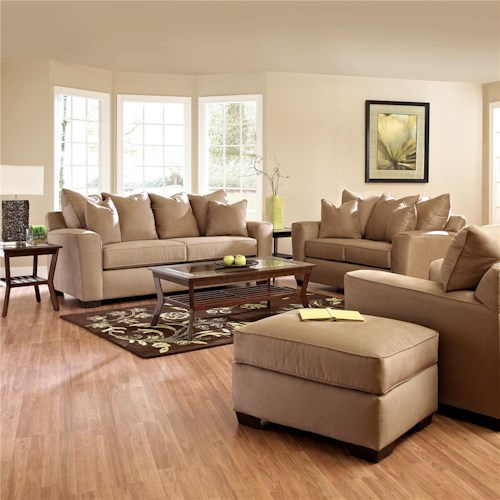 Klaussner heather stationary living room group dunk for Living room ideas heather