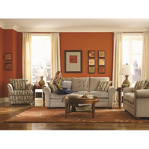 La z boy natalie stationary living room group louis for La z boy living room set