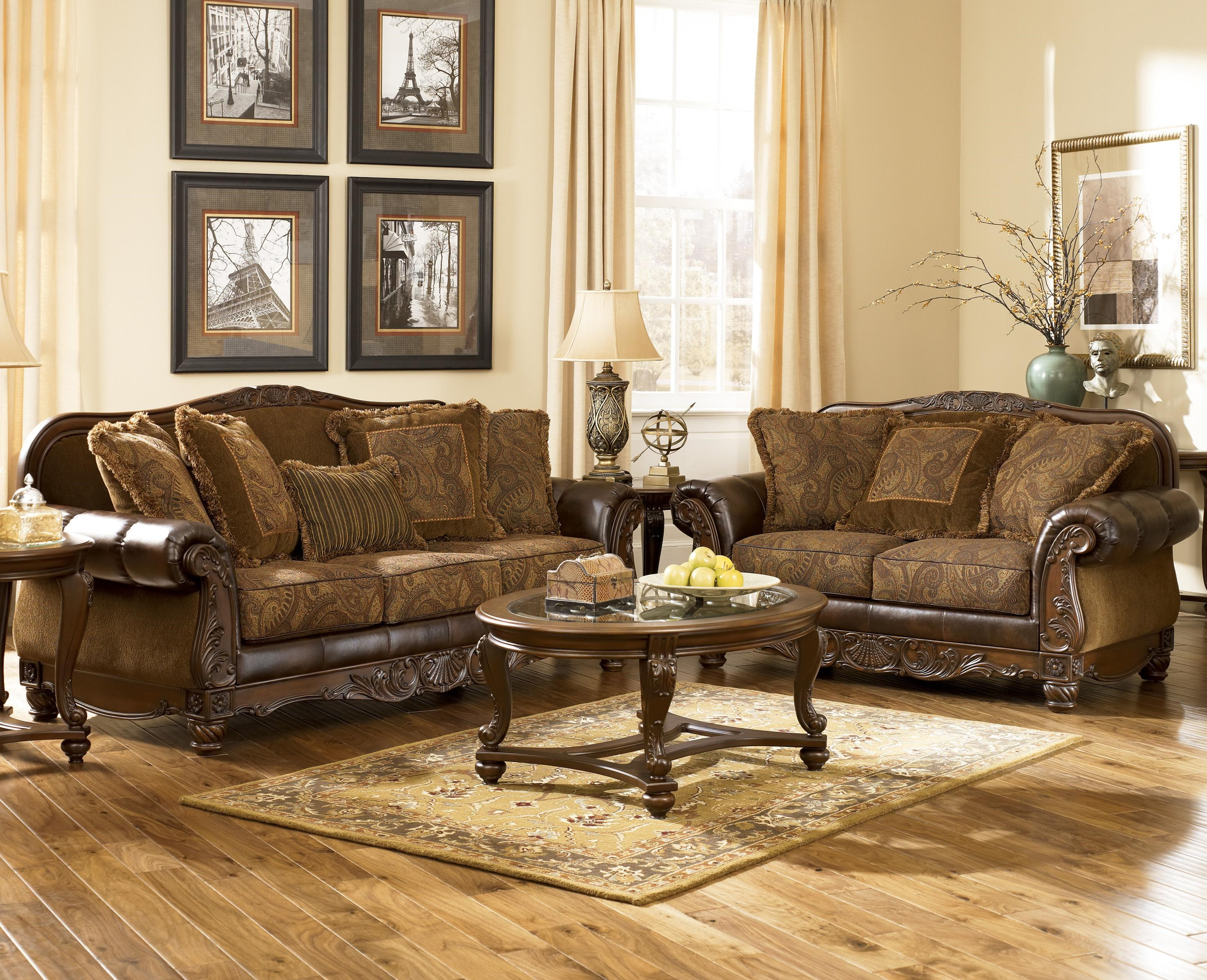 Signature Design by Ashley Furniture Fresco DuraBlend - Antique Stationary Living Room Group ...