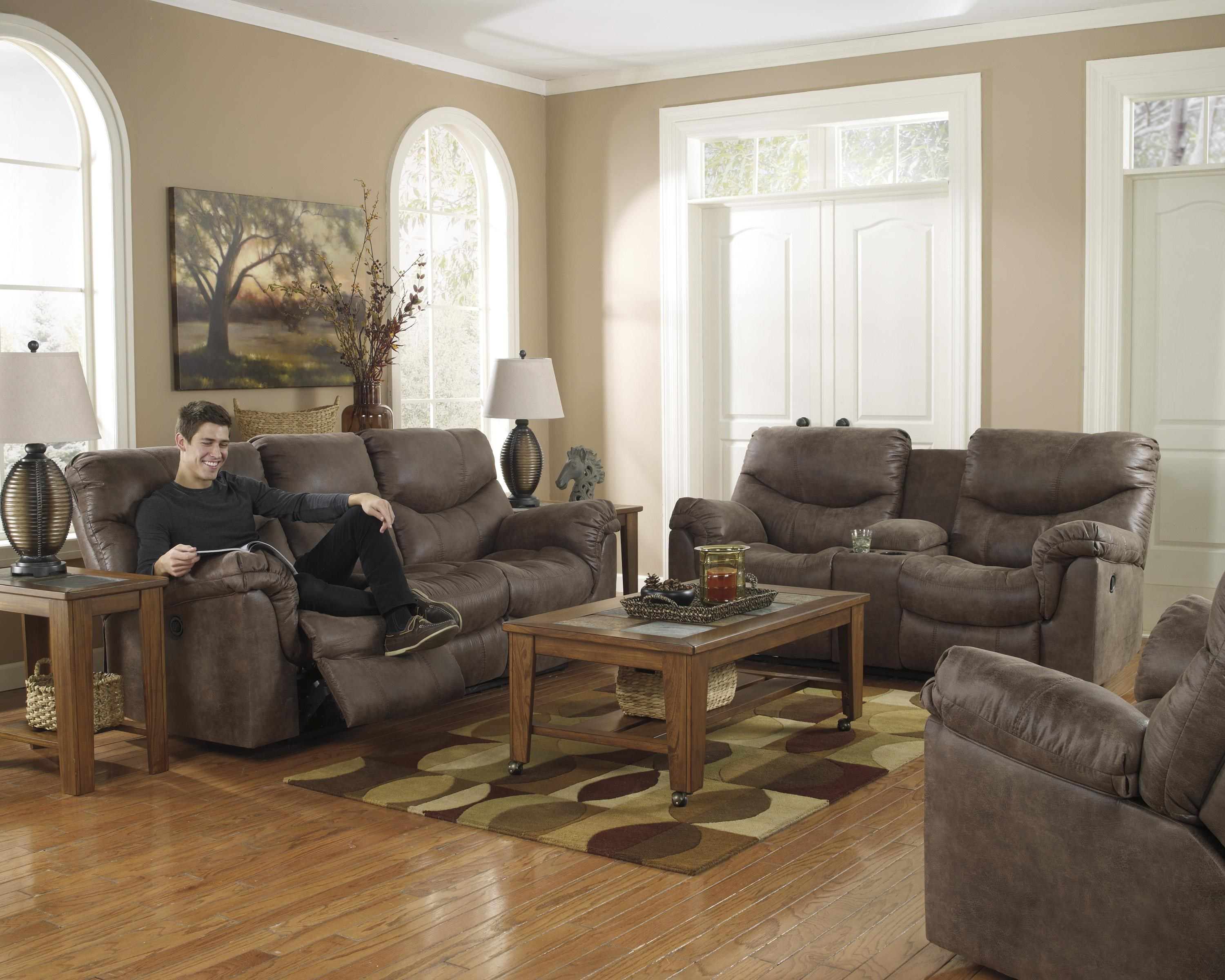 Signature Design by Ashley Alzena - Gunsmoke Reclining Living Room Group - Dream Home Furniture ...