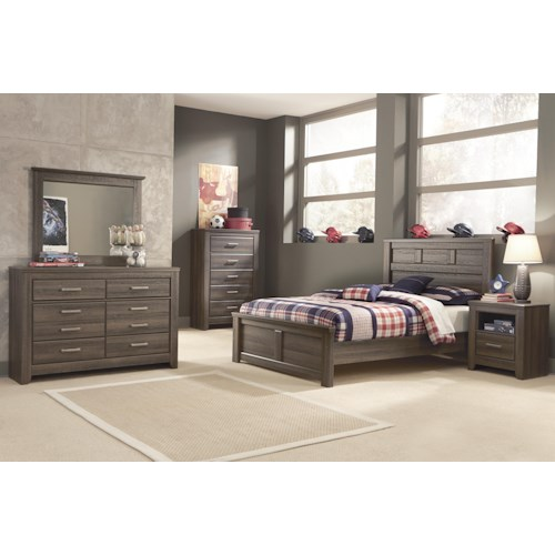 Signature design by ashley juararo full bedroom group for Bedroom furniture green bay wi