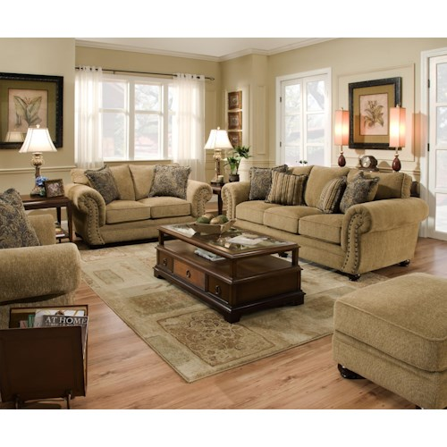Simmons upholstery 4277 stationary living room group for Simmons living room furniture
