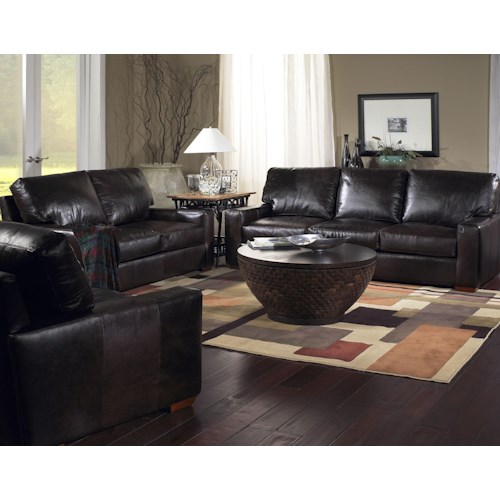 Usa premium leather 2655 stationary living room group for Furniture stores in burbank