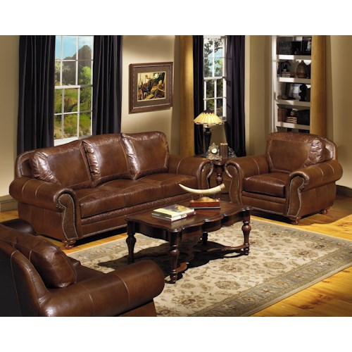 USA Premium Leather 8555 Stationary Living Room Group Reeds Furniture Uph