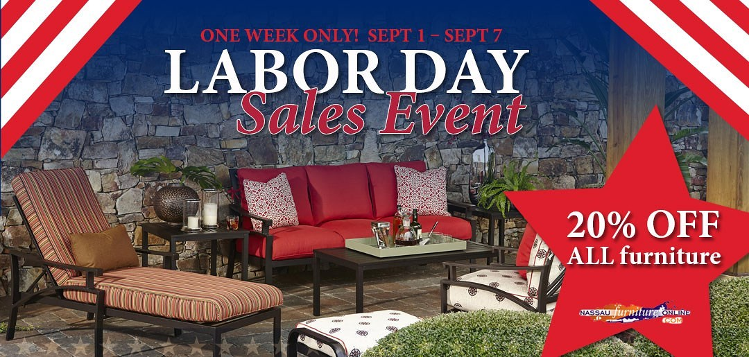 Nassau furniture 39 s current promotions for Labor day couch sale