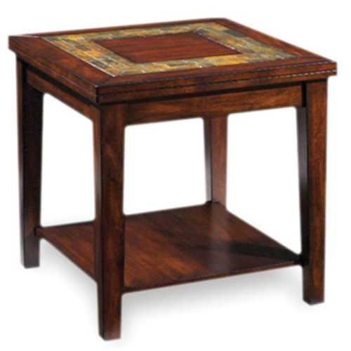 Vendor 3985 Davenport  Transitional End Table with Slate Inlay