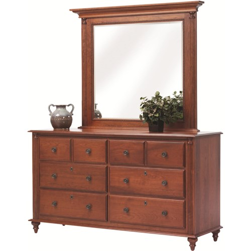Rotmans Amish Fur Elise Dresser with 6 Drawers and Mirror