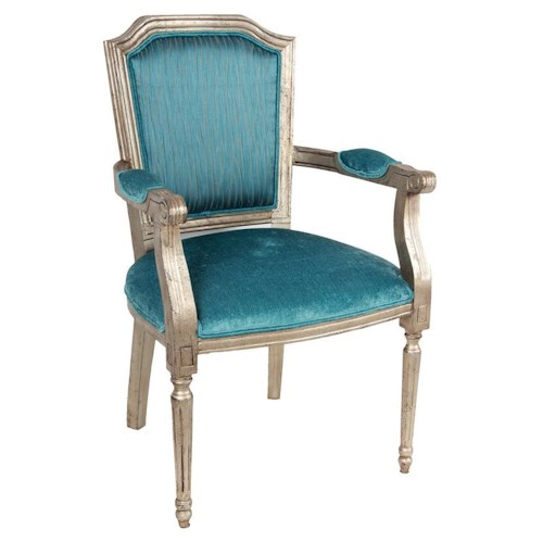 A & B Home Accent Chairs Teal Wood Arm Accent Chair