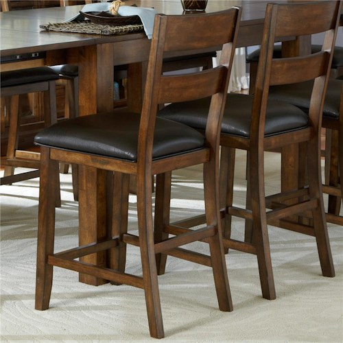 AAmerica Mariposa Ladderback Counterheight Stool with Faux Leather Seat