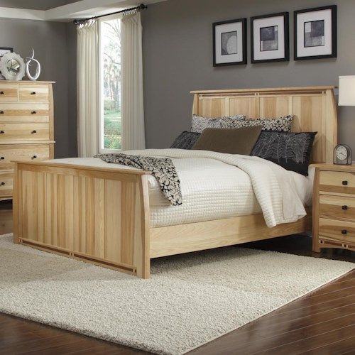 AAmerica Adamstown Queen Solid Hickory Panel Bed with Steam-Bent Headboard & Footboard