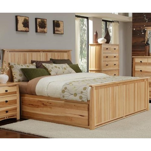 AAmerica Adamstown King Solid Hickory Panel Bed with Large Underbed Storage Drawer