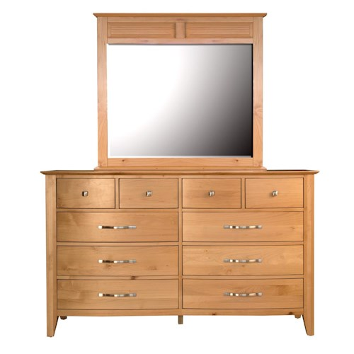 AAmerica Alderbrook 10 Drawer Dresser & Panel Mirror Set