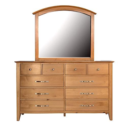 AAmerica Alderbrook 10 Drawer Dresser & Arch Mirror Set