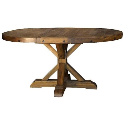 AAmerica Anacortes Round to Oval Pedestal Dining Table with Leaf
