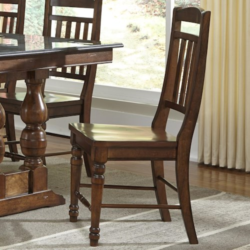 AAmerica Andover Park Slatback Side Chair with Turned Front Legs