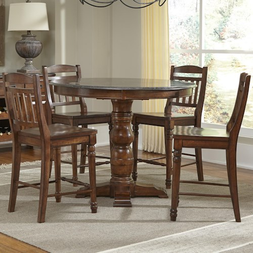 AAmerica Andover Park 5 Piece Round Counter Height Table and Stool Set