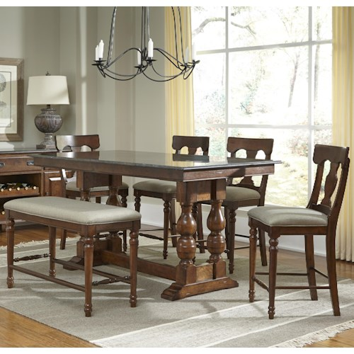 AAmerica Andover Park 6 Piece Counter Height Trestle Table, Stool, & Bench Set
