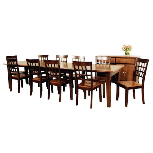 AAmerica Bristol Point 11 Pc. Accordion Leg Table Set with Grid Back Chairs