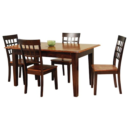 AAmerica Bristol Point 5 Pc. Accordion Leg Table Set with Grid Back Chairs