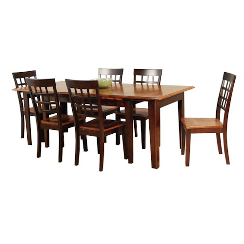 AAmerica Bristol Point 7 Pc. Accordion Leg Table Set with Grid Back Chairs