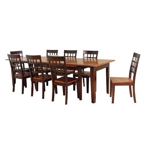 AAmerica Bristol Point 9 Pc. Accordion Leg Table Set with Grid Back Chairs