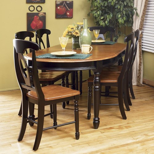 AAmerica British Isles 7 Piece Oval Leg Table with Chairs
