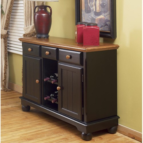 AAmerica British Isles Dining Storage Server Buffet with Wine Glass and Bottle Storage