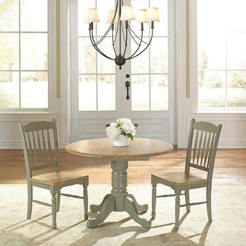 AAmerica British Isles Round Dropleaf Table and Chairs