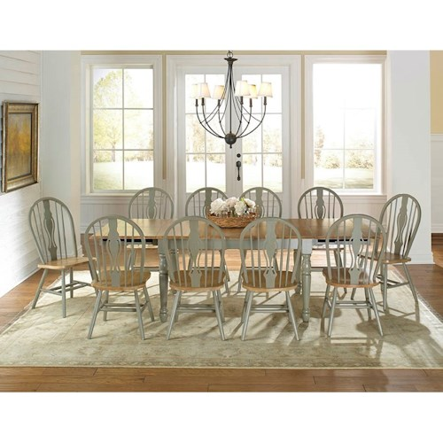 AAmerica British Isles 11 Piece Butterfly Leaf Table and Keyhole Chair Dining Set