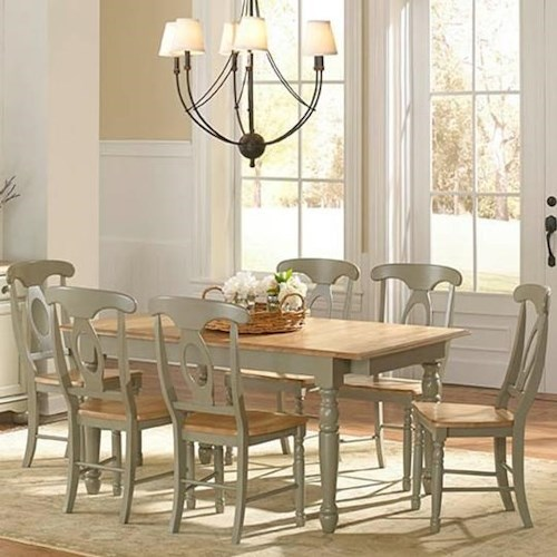 AAmerica British Isles 7 Piece Butterfly Leaf Dining Table and Napoleon Chair Set