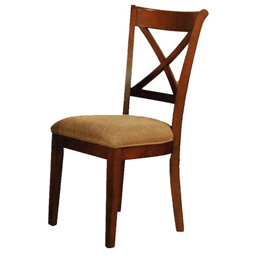AAmerica De Soto X-Back Side Chair with Upholstered Seat
