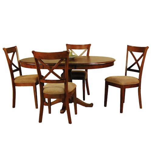 AAmerica De Soto Five Piece Pedestal Table and X-Back Chair Dining Set