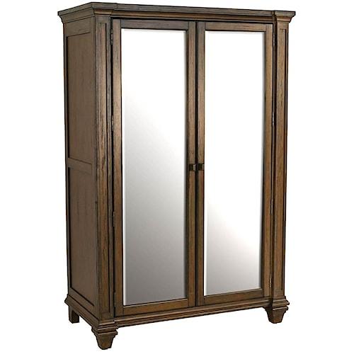 AAmerica Gallatin Solid Mahogany Wardrobe with Mirror Doors