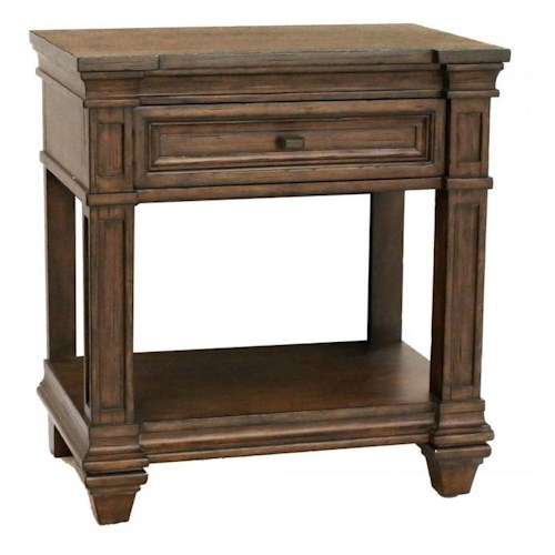 AAmerica Gallatin 1 Drawer Solid Mahogany Nightstand with Square Turned Legs