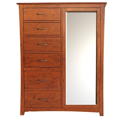 AAmerica Grant Park Chifferobe Mirrored Door Chest with 6 Drawers