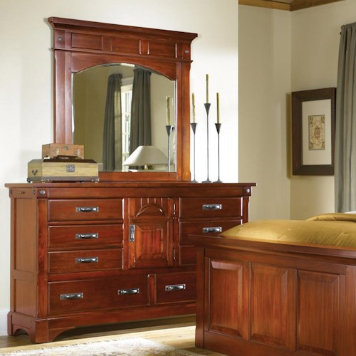 AAmerica Kalispell 8 Drawer Dresser and Mantel Mirror