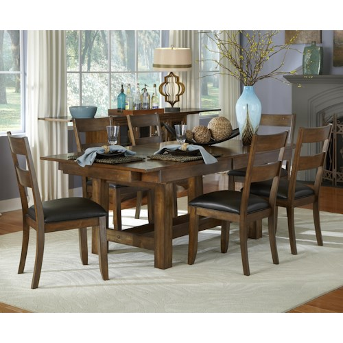AAmerica Mariposa 7 Piece Trestle Table and Ladderback Chairs Set
