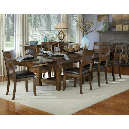 AAmerica Mariposa 9 Piece Trestle Table and Ladderback Chairs Set